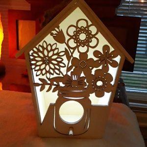 Light up birdhouse wooden carved hangable lantern